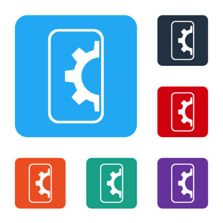 White Software, web development, programming concept icon isolated on white background. Programming language and program code on screen mobile. Set icons in color square buttons. Vector