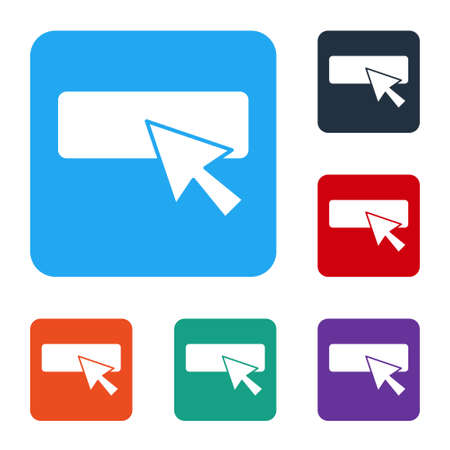 White UI or UX design icon isolated on white background. Set icons in color square buttons. Vector Illustration