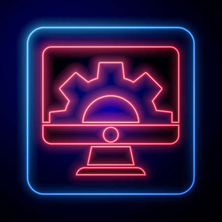 Glowing neon Software, web development, programming concept icon isolated on blue background. Programming language and program code on screen monitor. Vector Illustration