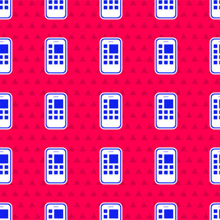 Blue Mobile Apps icon isolated seamless pattern on red background. Smartphone with screen icons, applications. mobile phone showing screen. Vector
