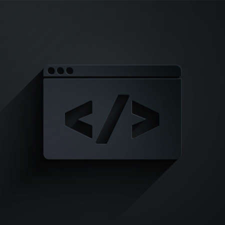 Paper cut Web design and front end development icon isolated on black background. Paper art style. Vector