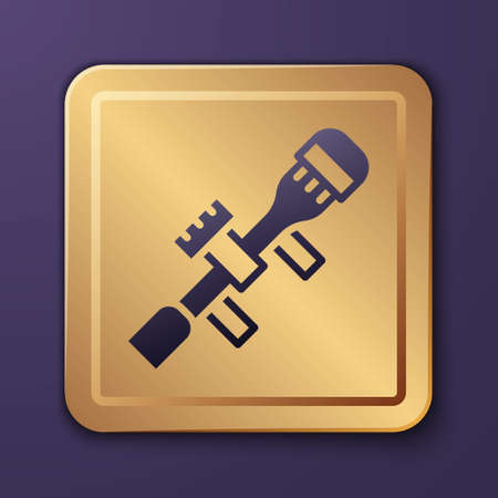 Purple Sniper optical sight icon isolated on purple background. Sniper scope crosshairs. Gold square button. Vector 矢量图像