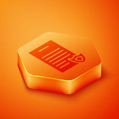 Isometric Firearms license certificate icon isolated on orange background. Weapon permit. Orange hexagon button. Vector