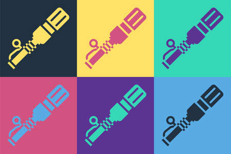 Pop art RKG 3 anti-tank hand grenade icon isolated on color background. Vector 矢量图像