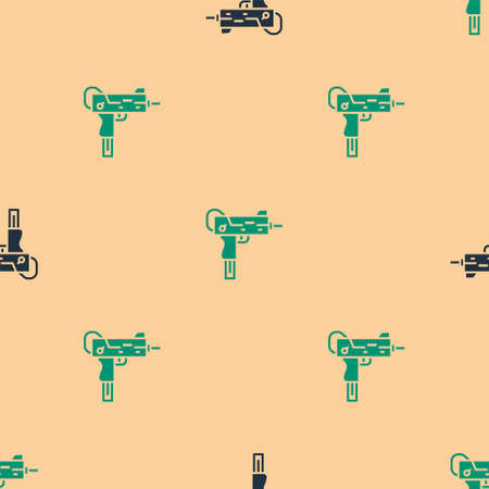 Green and black UZI submachine gun icon isolated seamless pattern on beige background. Automatic weapon. Vector