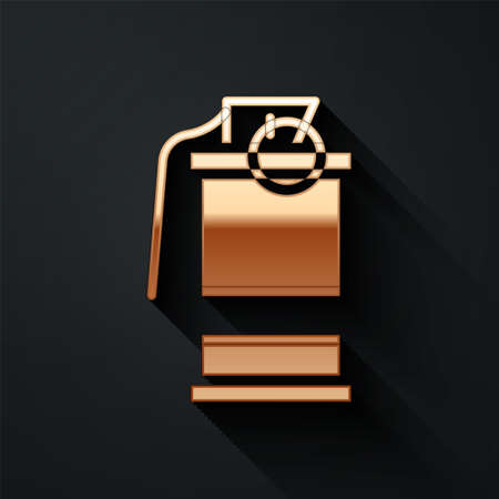 Gold Hand smoke grenade icon isolated on black background. Bomb explosion. Long shadow style. Vector