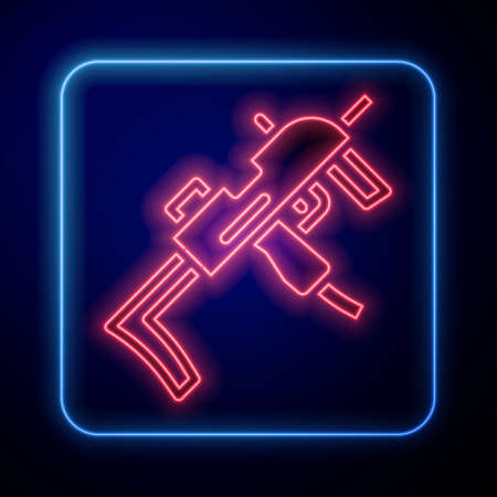 Glowing neon MP9 submachine gun icon isolated on blue background. Automatic weapon. Vector