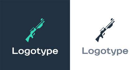 Logotype Hunting gun icon isolated on white background. Hunting shotgun.