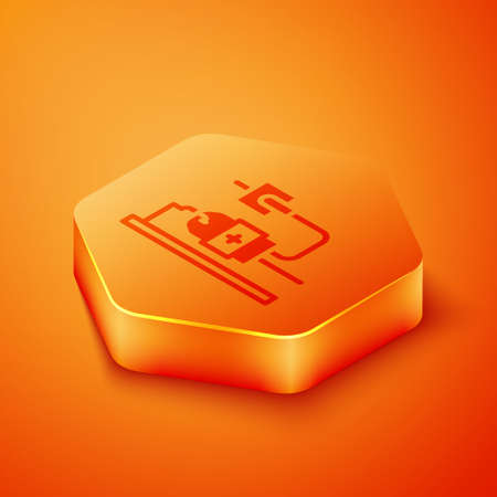 Isometric IV bag icon isolated on orange background. Blood bag. Donate blood concept. The concept of treatment and therapy, chemotherapy. Orange hexagon button. Vector  イラスト・ベクター素材