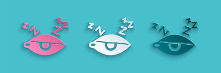 Paper cut Insomnia icon isolated on blue background. Sleep disorder with capillaries and pupils. Fatigue and stress. Paper art style. Vector 向量圖像