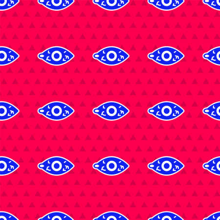 Blue Reddish eye due to viral, bacterial or allergic conjunctivitis icon isolated seamless pattern on red background. Vector
