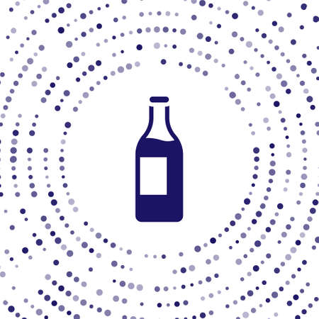 Blue Wine bottle icon isolated on white background. Abstract circle random dots. Vector