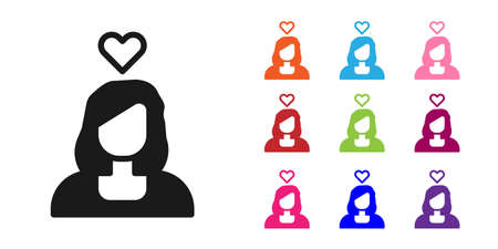 Black Romantic girl icon isolated on white background. Happy Valentines Day. Set icons colorful. Vector