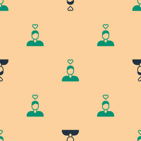 Green and black Romantic man icon isolated seamless pattern on beige background. Happy Valentines Day. Vector 向量圖像