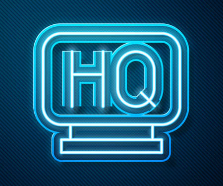 Glowing neon line Military headquarters icon isolated on blue background. Vector