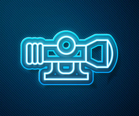 Glowing neon line Sniper optical sight icon isolated on blue background. Sniper scope crosshairs. Vector