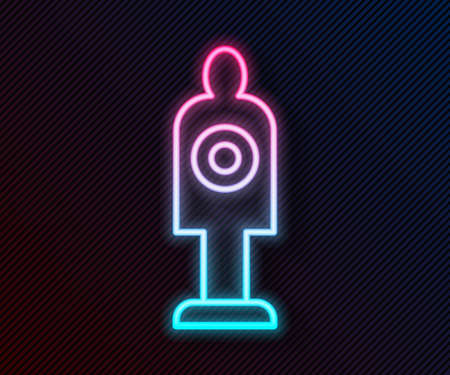 Glowing neon line Human target sport for shooting icon isolated on black background. Clean target with numbers for shooting range or shooting. Vector Ilustração