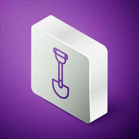 Isometric line Sapper shovel for soldiers icon isolated on purple background. Silver square button. Vector Ilustracja