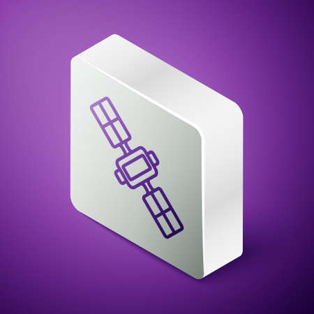 Isometric line Satellite icon isolated on purple background. Silver square button. Vector