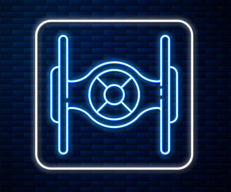 Glowing neon line Cosmic ship icon isolated on brick wall background. Vector
