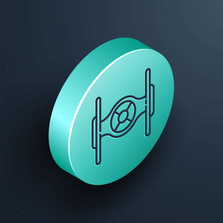 Isometric line Cosmic ship icon isolated on black background. Turquoise circle button. Vector 일러스트