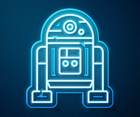 Glowing neon line Robot icon isolated on blue background. Vector