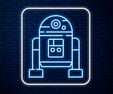 Glowing neon line Robot icon isolated on brick wall background. Vector