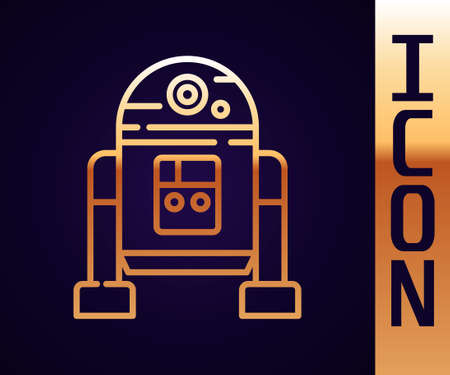 Gold line Robot icon isolated on black background. Vector 矢量图像