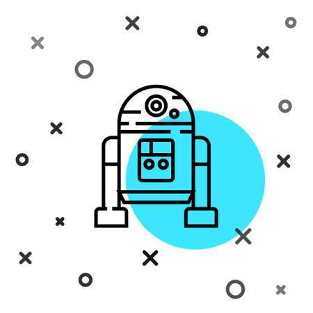 Black line Robot icon isolated on white background. Random dynamic shapes. Vector