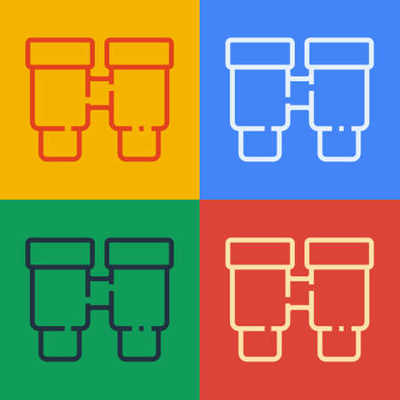 Pop art line Binoculars icon isolated on color background. Find software sign. Spy equipment symbol. Vector 矢量图像