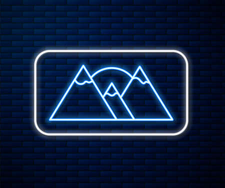 Glowing neon line Mountains icon isolated on brick wall background. Symbol of victory or success concept. Vector Illustration