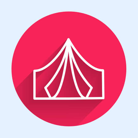 White line Tourist tent icon isolated with long shadow. Camping symbol. Red circle button. Vector