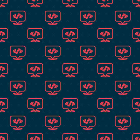 Red line Web design and front end development icon isolated seamless pattern on black background. Vector