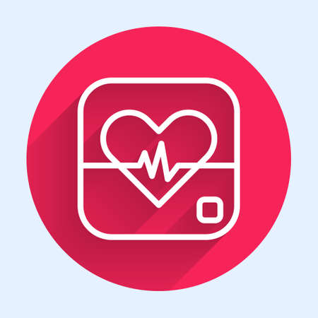 White line Heart rate icon isolated with long shadow. Heartbeat sign. Heart pulse icon. Cardiogram icon. Red circle button. Vector 向量圖像