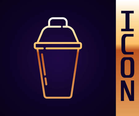 Gold line Cocktail shaker icon isolated on black background. Vector Vettoriali