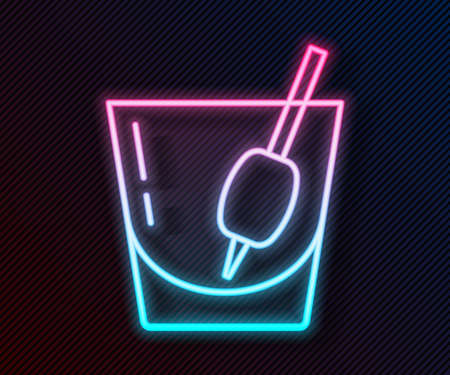 Glowing neon line Cocktail Bloody Mary icon isolated on black background. Vector Ilustração