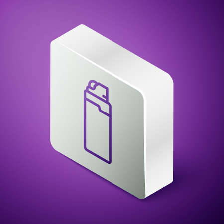 Isometric line Lighter icon isolated on purple background. Silver square button. Vector 矢量图像