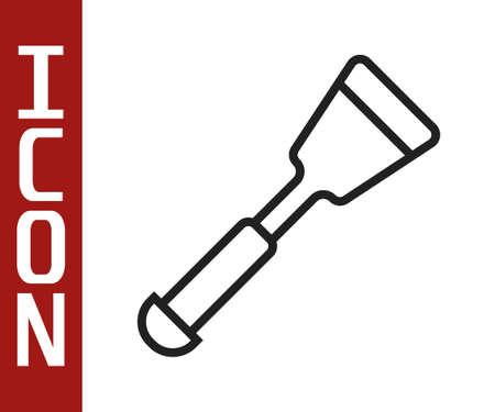 Black line Spatula icon isolated on white background. Kitchen spatula icon. BBQ spatula sign. Barbecue and grill tool. Vector