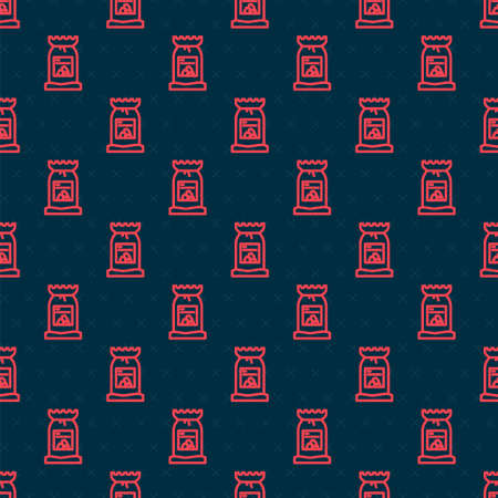 Red line Barbecue coal bag icon isolated seamless pattern on black background. Vector