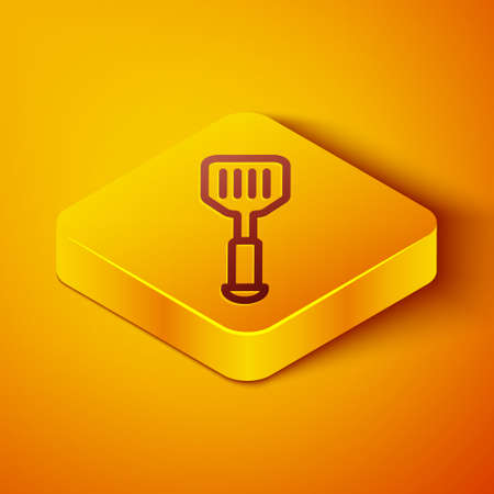 Isometric line Spatula icon isolated on orange background. Kitchen spatula icon. BBQ spatula sign. Barbecue and grill tool. Yellow square button. Vector 일러스트