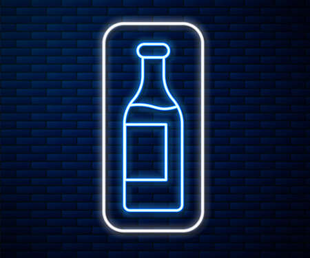 Glowing neon line Wine bottle icon isolated on brick wall background. Vector