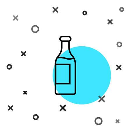 Black line Wine bottle icon isolated on white background. Random dynamic shapes. Vector