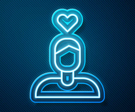 Glowing neon line Romantic man icon isolated on blue background. Happy Valentines Day. Vector