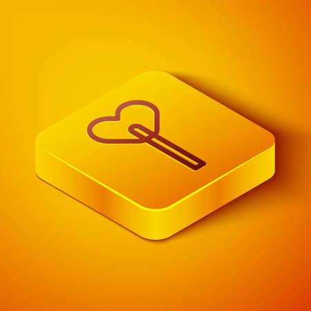 Isometric line Lollipop icon isolated on orange background. Food, delicious symbol. Yellow square button. Vector