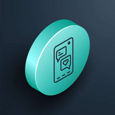 Isometric line Smartphone with heart emoji speech bubble get message on screen icon isolated on black background. Valentines day. Turquoise circle button. Vector