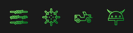 Set line Military truck, Barbed wire, Naval mine and Viking horned helmet. Gradient color icons. Vector Illustration