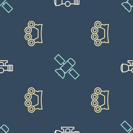 Set line Sniper optical sight, Brass knuckles and Satellite on seamless pattern. Vector 矢量图像