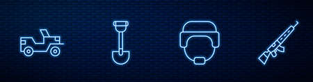 Set line Military helmet, truck, Sapper shovel and Sniper rifle with scope. Glowing neon icon on brick wall. Vector