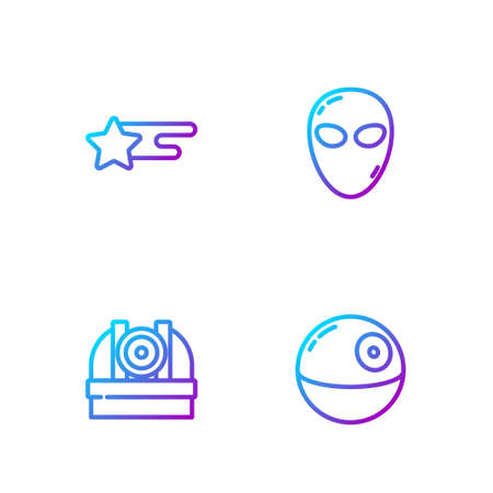 Set line Death star, Astronomical observatory, Falling and Alien. Gradient color icons. Vector 矢量图像