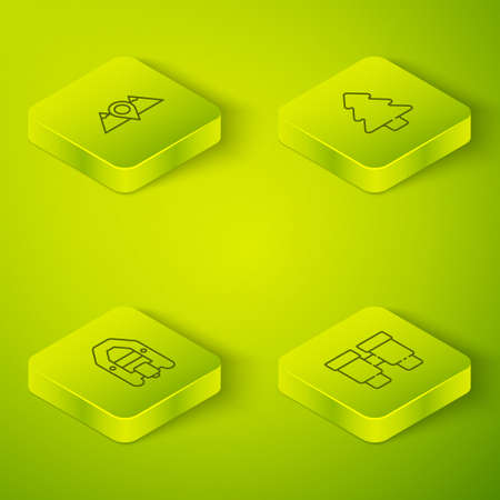 Set Isometric line Forest, Rafting boat, Binoculars and Location mountains icon. Vector